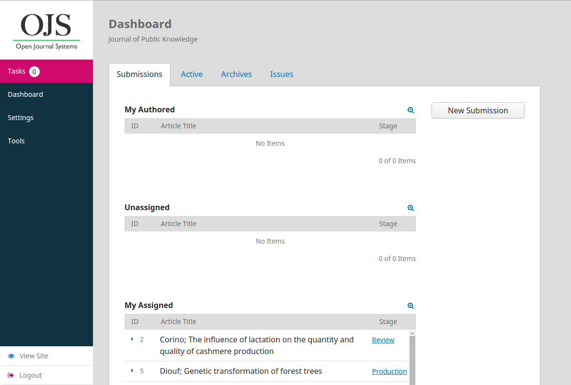 The dashboard in OJS 3.0 beta.