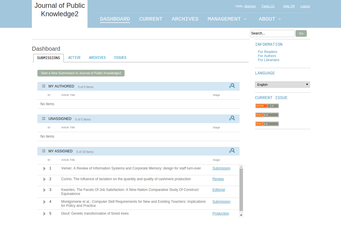 OJS 3.0 dashboard before the redesign