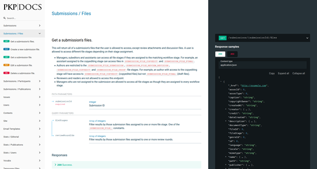 A screenshot of the API documentation for the new submission files endpoints.