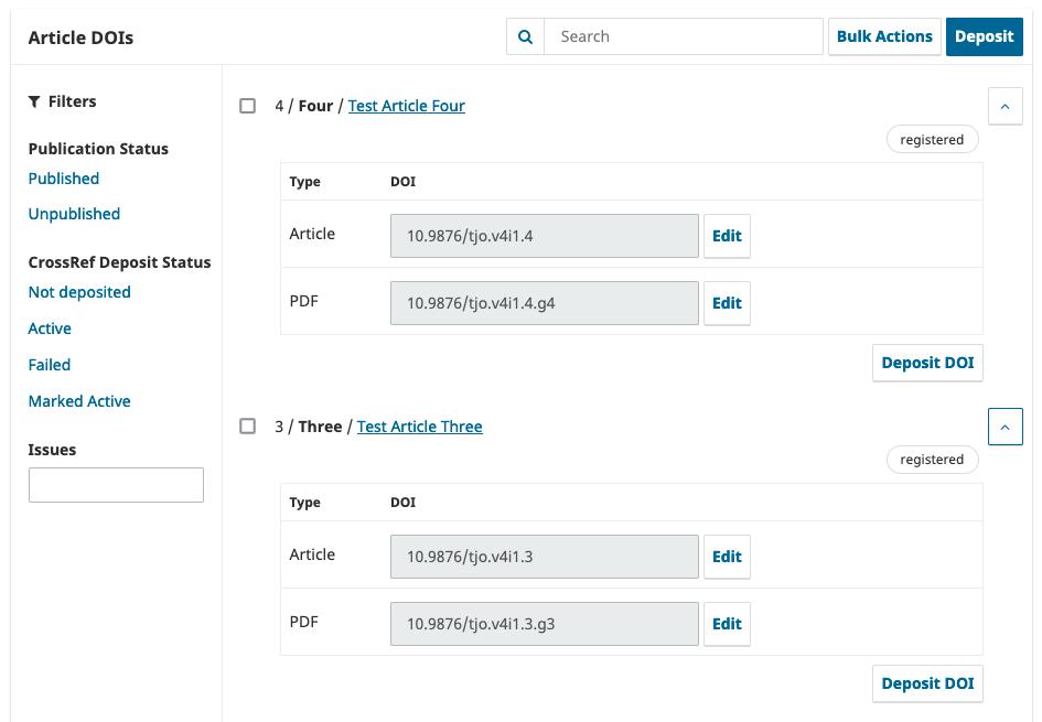 A screenshot of the new DOI management screen